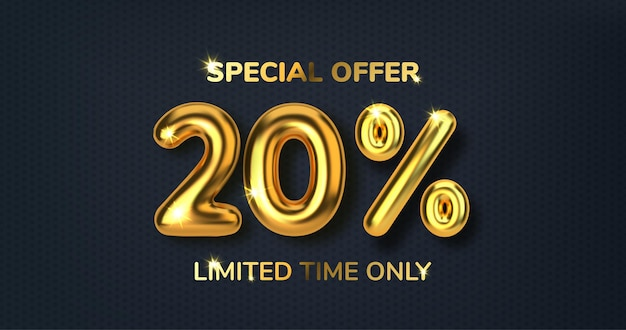 20 off discount promotion sale made of realistic 3d gold balloons number in the form of golden balloons