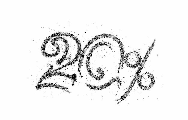 Скидка 20% на баннер со скидкой на продажу частиц. ценник предложения скидки. векторная иллюстрация современный стикер.