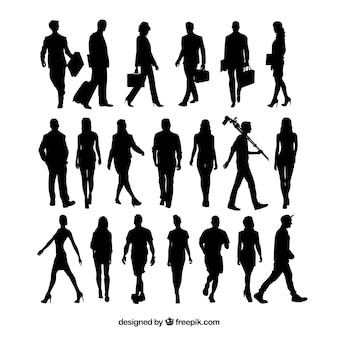 20 people silhouettes walking
