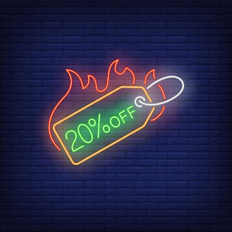 20 percent discount label on fire neon sign.