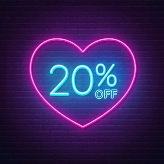20 percent off neon sign in a heart shape frame background illustration
