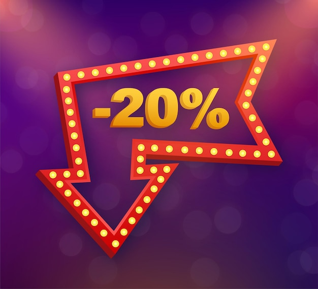 Скидка 20% на баннер со скидкой. ценник предложения скидки. 20-процентная скидка на продвижение плоский значок с длинной тенью. векторная иллюстрация.