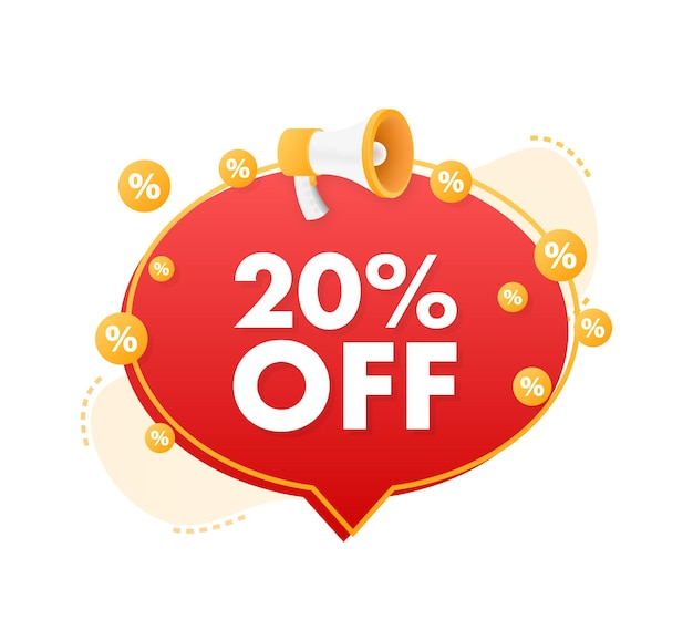 20 percent off sale discount banner with megaphone discount offer price tag