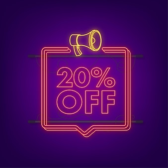 20 percent off sale discount neon banner with megaphone. discount offer price tag. 20 percent discount promotion flat icon with long shadow. vector illustration.