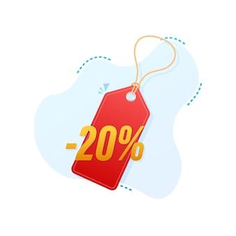 Скидка 20%. скидка на продажу. ценник предложения скидки. 10-процентная скидка на продвижение плоский значок с длинной тенью. векторная иллюстрация.