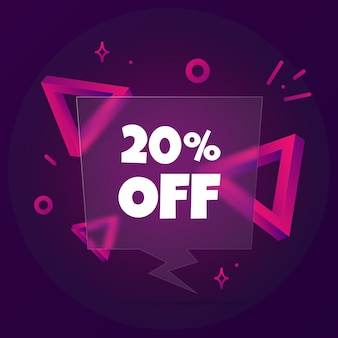 Скидка 20%. речи пузырь баннер с 20% от текста. стиль глассморфизм. для бизнеса, маркетинга и рекламы. вектор на изолированном фоне. eps 10.