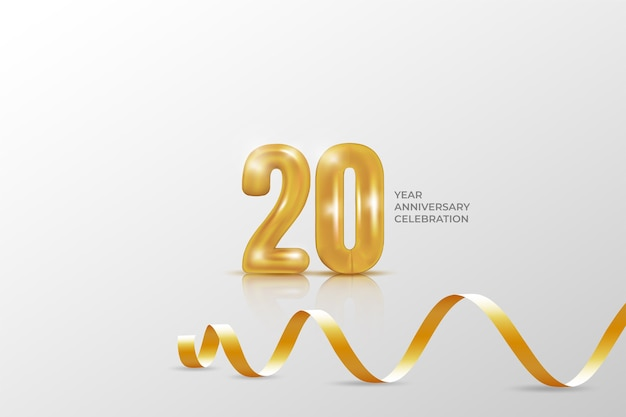 20 year anniversary banner template. illustration with golden number.