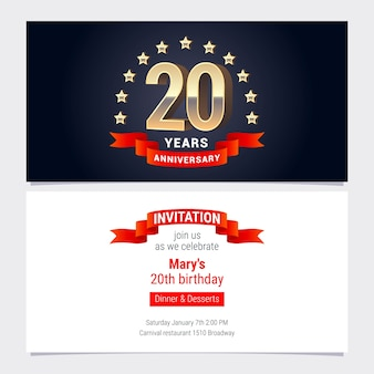 20 years anniversary invitation to celebration vector illustration. graphic design element with golden number for 20th birthday card, party invite