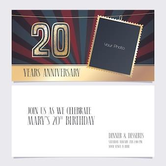 20 번째 생일 카드 파티 초대장을위한 사진 프레임이있는 20 주년 기념 초대장 요소