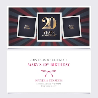 20 years anniversary invitation illustration