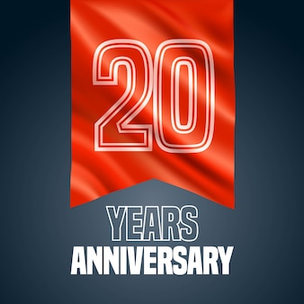 20 years anniversary vector icon, logo. design element with red flag for decoration for 20th anniversary