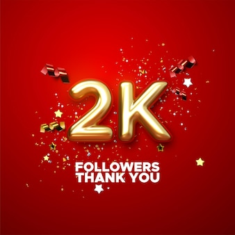 2000 подписчиков подписываются с золотым знаком и конфетти дизайна баннера в социальных сетях