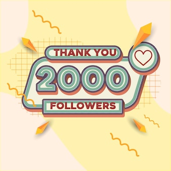 2000 followers square banner retro look