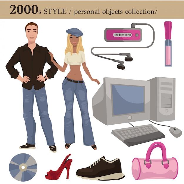 2000ファッションスタイルの男性と女性の個人的なオブジェクト