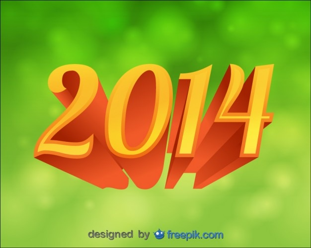 2014 background green bokeh 3d text