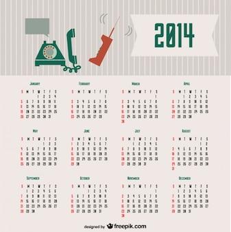 2014 концепция календаря ретро связи дизайн