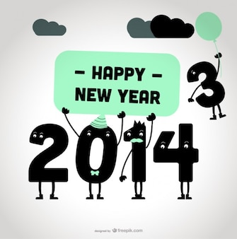 2014 new year happy message card design