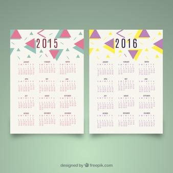 2015 2016抽象的な装飾カレンダー