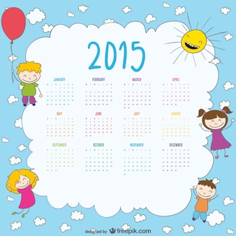 2015 calendar of happy kids drawing