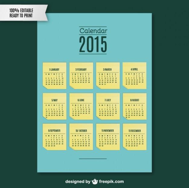 2015 calendar note template