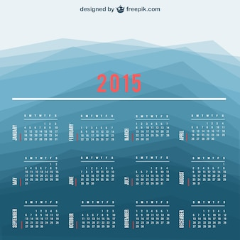 2015 calendar with polygonal background