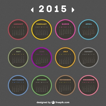 2015 calendar with round labels