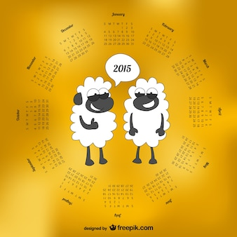 2015 calendario con pecore cartoon