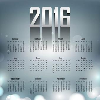 2016 calendar on bokeh background