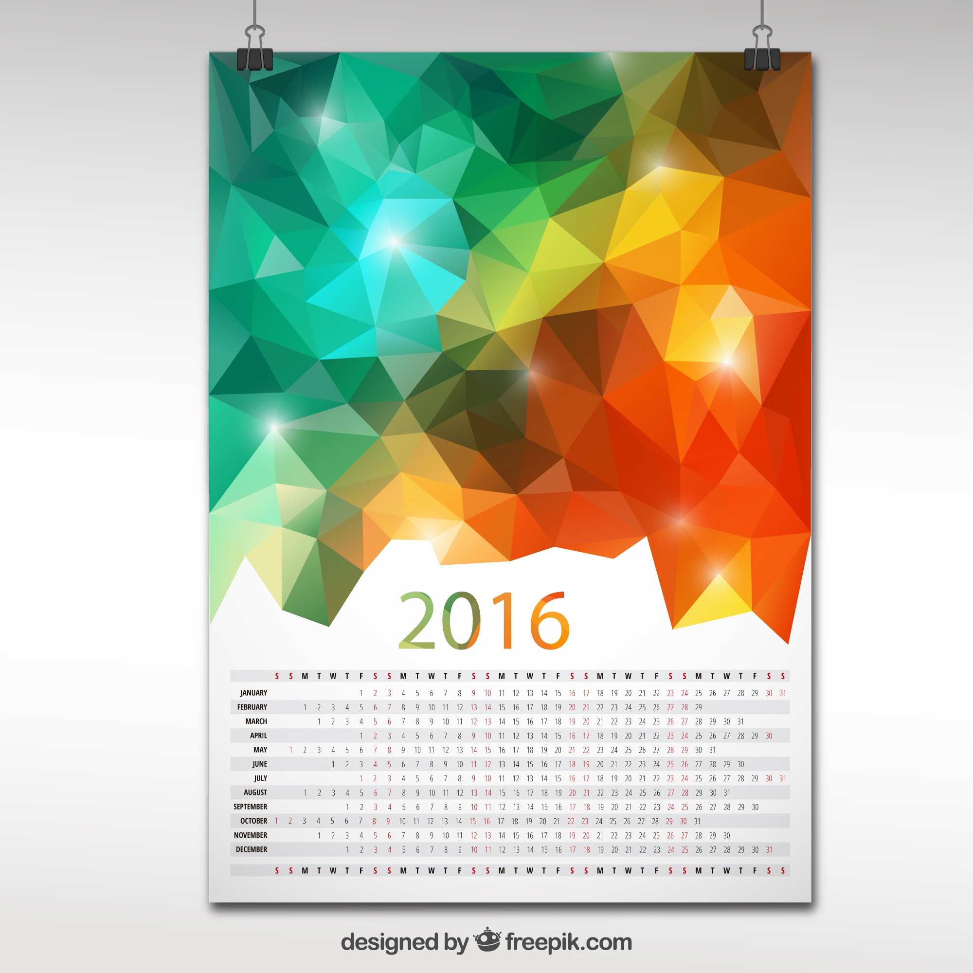 2016 calendar in polygonal design