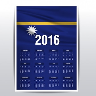2016 calendar of nauru flag