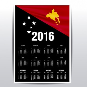 2016 calendar of papua new guinea flag