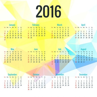 2016 calendar on polygonal background