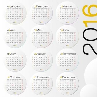 2016 calendar with circles
