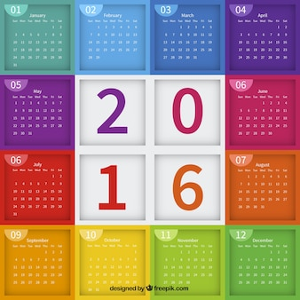 2016 calendar with colorful cubes