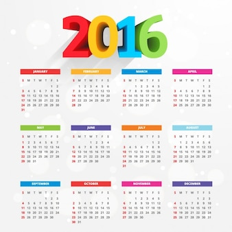 2016 calendar with colorful numbers