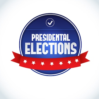 白いフラットに赤いリボンで2016年米国大統領選挙のラベル