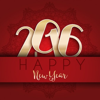 Золотые новогодние цифры 2016 на красном фоне