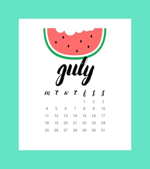 Календарь на июль 2016 года.