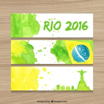水彩画効果のブラジル2016バナーのセット