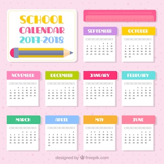 2017-2018フラットデザインの学校のカレンダー