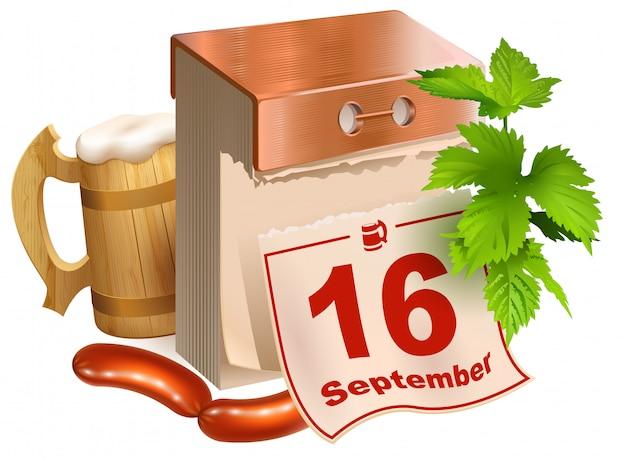 2017年9月16日、オクトーバーフェスト。ビール祭りシンボル木製ビールジョッキ、緑の葉ホップ、ティアオフカレンダー、揚げソーセージ