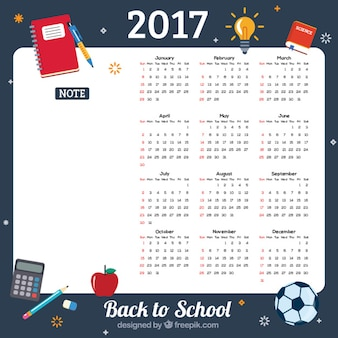 学校のカレンダーに2017年バック