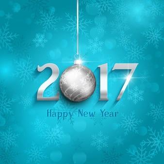 Felice anno nuovo sfondo con la bagattella appeso