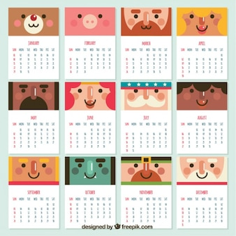 フラットデザインでの素敵な文字の2017年カレンダー
