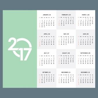 2017 modello di calendario verde