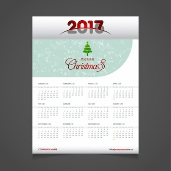 2017 calendar template with christmas tree