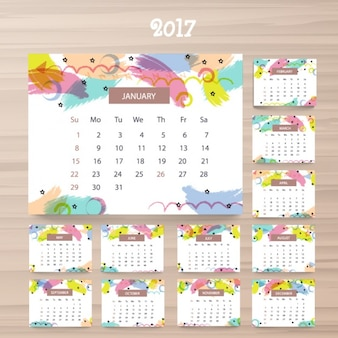 2017 calendar template with colorful details