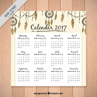 2017 calendar template with ethnic ornaments
