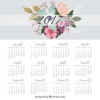 2017 calendar template with flat flowers