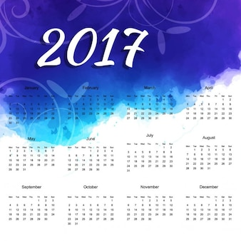 2017 calendar with colorful shapes